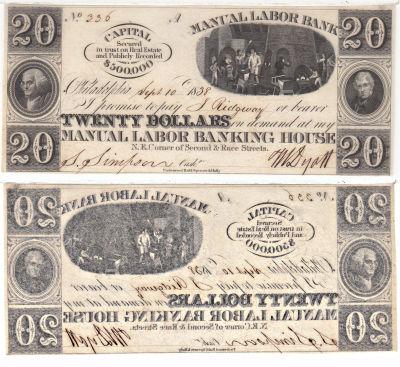 1838. $20. CCU. PA.