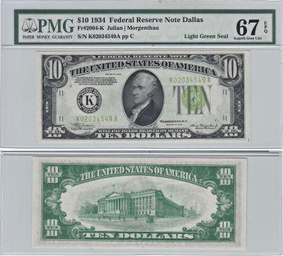 1934. $10. F-2004-K. PMG. Superb-67. EPQ. Federal