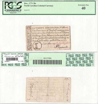 1771. NC. Thirty Shillings. PCGS. XF-40.