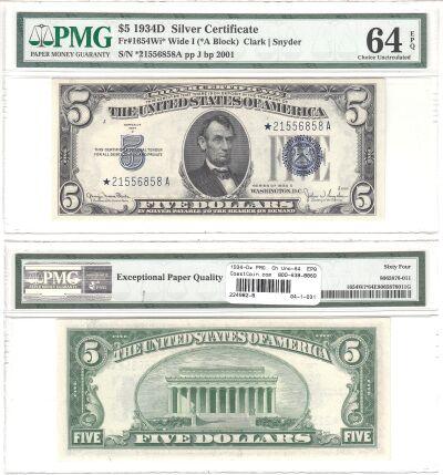 1934-D*. $5. F-1654w*. PMG. Ch Unc-64. EPQ. Silver