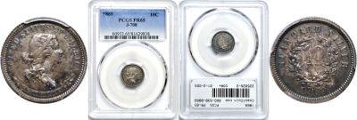 1869. Dime. PCGS. PR-65. J-708.
