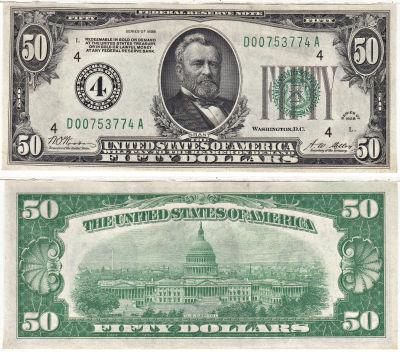 1928. $50. F-2100-D. CAU. Federal Reserve Note.