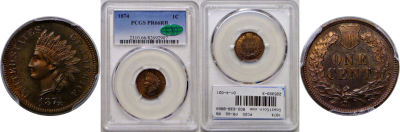 1874. PCGS. PR-66. RB.