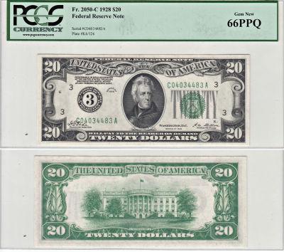 1928. $20. F-2050-C. PCGS. Gem-66. PPQ. Federal Re