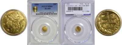 1868. PCGS. MS-66. California Fractional Gold.