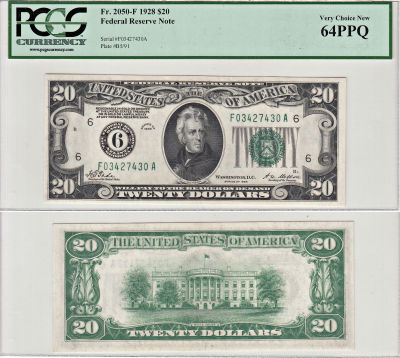 1928. $20. F-2050-F. PCGS. Very Ch-64. PPQ. Federa