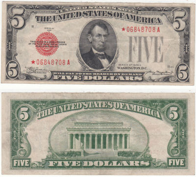1928-C*. $5. F-1528*. VF. Legal Tender Note.