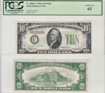 1934-A. $10. F-2006-C. PCGS. Ch New-63. Federal Re