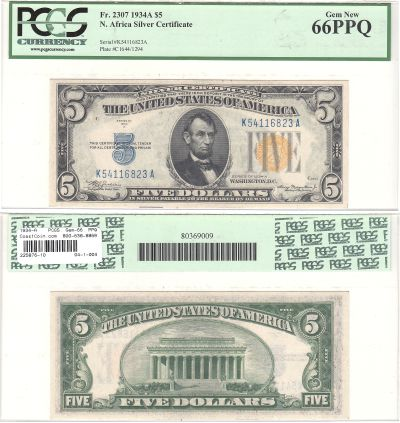 1934-A. $5. F-2307. PCGS. Gem-66. PPQ. North Afric