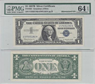 1957-B. $1. PMG. Ch Unc-64. EPQ. Silver Certificat