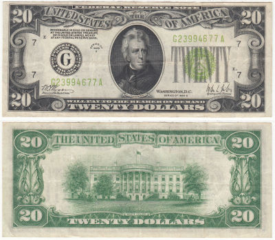 1928-C. $20. F-2053-G. VF. Federal Reserve Note.