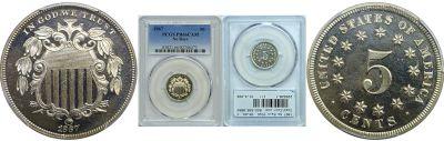 1867 No Rays. PCGS. PR-66. CAM.