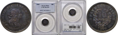 1869. Dime. PCGS. PR-66. J-702.
