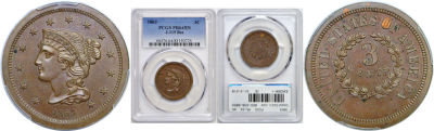 1863. Three Cent. PCGS. MS-64. BN. J-319.