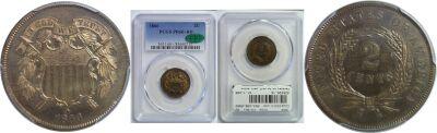 1866. PCGS. PR-66+. RB.