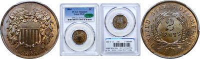 1864 Large Motto. PCGS. MS-66. BN.