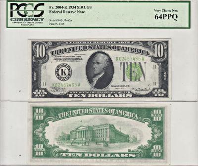 1934. $10. F-2004-K. PCGS. Very Ch-64. PPQ. Federa