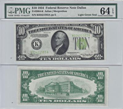 1934. $10. F-2004-K. PMG. Ch Unc-64. EPQ. Federal