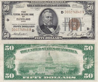 1929. $50. F-1880-D. VF. Federal Reserve Note.