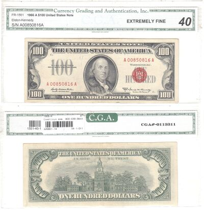 1966-A. $100. F-1551. XF. Legal Tender Note.