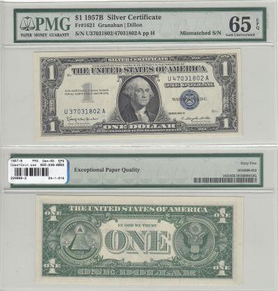 1957-B. $1. PMG. Gem-65. EPQ. Silver Certificate.