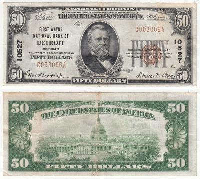 1929. $50. VF. MI. Detroit. Charter 10527.