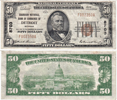1929. $50. VF. MI. Detroit. Charter 8703.