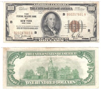 1929. $100. F-1890-B. XF. Federal Reserve Bank Not