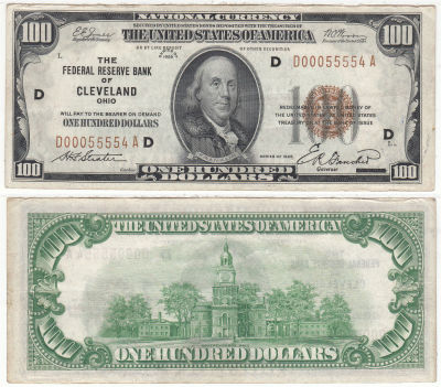 1929. $100. F-1890-D. AU. Federal Reserve Note.