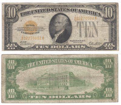 1928. $10. F-2400. VG. Gold Certificate.