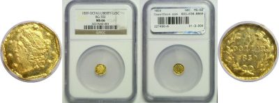 1859. NGC. MS-66. California Fractional Gold.