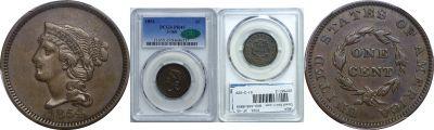 1854. Cent. PCGS. XF-45. J-160.
