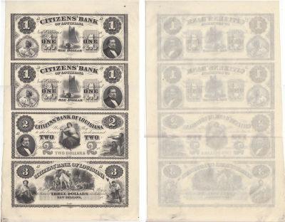 1850's. $1,$1,$2,$3. CU. LA.