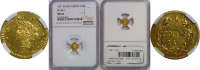 1871. NGC. MS-63. California Fractional Gold.