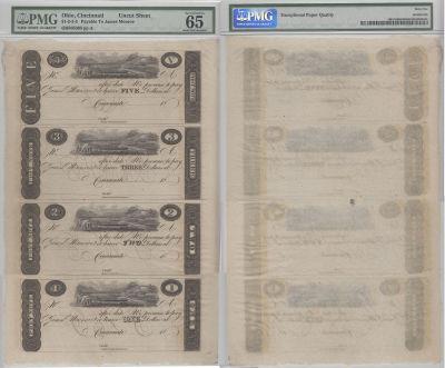 1810's. $5,$3,$2,$1. PMG. Gem-65. EPQ. OH.