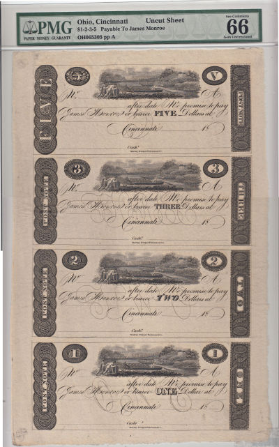 1810's. $5,$3,$2,$1. PMG. Gem-66. EPQ. OH.