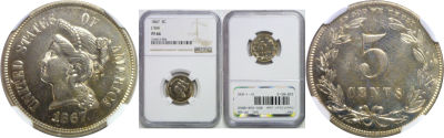 1867. Nickel. NGC. PF-66. J-566.