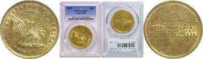 1853. PCGS. AU-55. U.S. Assay $20.