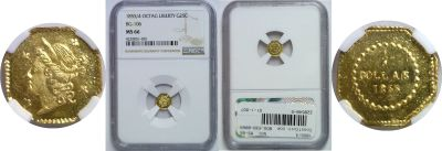 1855/4. NGC. MS-66. California Fractional Gold.