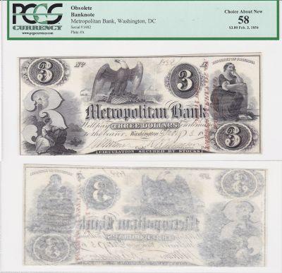 1854. $3. PCGS. Ch AU-58. DC.