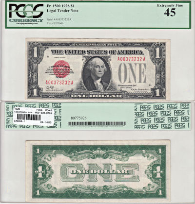 1928. $1. F-1500. PCGS. XF-45. Legal Tender Note.