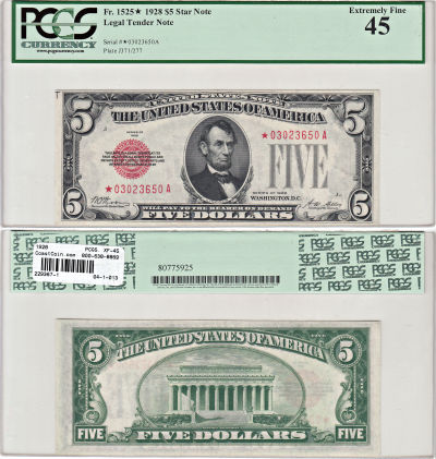 1928. $5. F-1525*. PCGS. XF-45. Legal Tender Note.