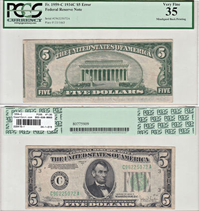 1934-C. $5. PCGS. VF-35. Federal Reserve Note.