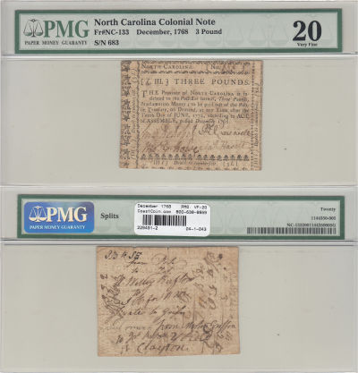 December 1768. NC. Three Pounds. PMG. VF-20.