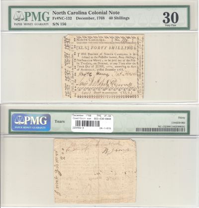 December 1768. NC. Forty Shillings. PMG. VF-30.