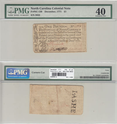 December 1771. NC. One Pound. PMG. XF-40.