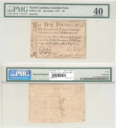 December 1771. NC. Five Pounds. PMG. XF-40.