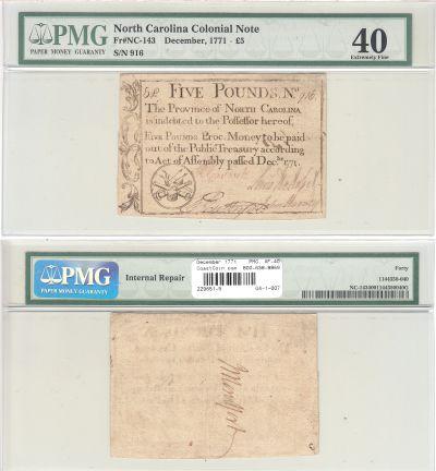 December 1771. NC. Five Pounds. PMG. XF-40.