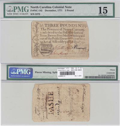 December 1771. NC. Three Pounds. PMG. Ch F-15.