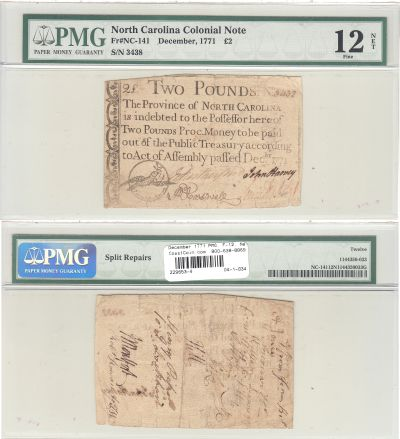 December 1771. NC. Two Pounds. PMG. F-12. Net.